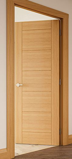 Sevillia Grooved Pre-finished Oak Internal Door Flush Door Design, Flush Doors, Oak Doors, Internal Doors, Minimalist Interior, First Home, Home Interior Design, Tall Cabinet Storage, House Ideas