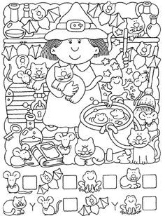 Crafts,Actvities and Worksheets for Preschool,Toddler and Kindergarten.Free printables and activity pages for free.Lots of worksheets and coloring pages. Halloween Worksheets, Preschool Worksheets, Preschool Activities, Theme Halloween, Fall Halloween, Halloween Crafts, Halloween Stuff, Hidden Pictures, Kids And Parenting