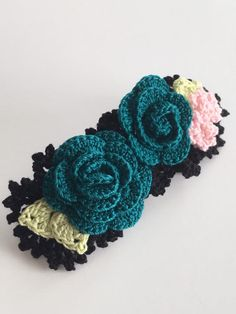 LARGE BARRETTE ROSE crochet rose free shipping by bloomingrosebuds Crochet Baby, Free Crochet, Crochet Earrings, Crochet Headbands, Crochet Barefoot Sandals, Color Feel, Butterfly Pin, Thread Crochet, Hat Pins