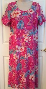 LOUNGEES Floral Hawaiian Dress W/beaded Outlines 100% Cotton L Pink Tropical