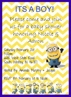 Custom minion baby shower invite baby shower invitations homemade despicable me minions baby boy shower invite tell me what you think filmwisefo