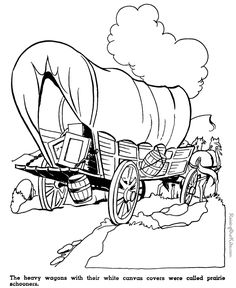 Kid coloring pages of Prairie schooners - This American history timeline for kids helps teach the important events that shaped the United States. Coloring Book Pages, Coloring Sheets, Pioneer Crafts, Us History, American History, History Timeline, Westerns, Covered Wagon, Oregon Trail