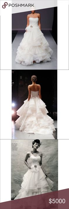 Rivini Waverly Wedding Dress Rivini Waverly Wedding Dress  Street Size: 8 Label Size: 12  Gently Used Dress has been dry cleaned.  Layers of silk organza and tulle bands sweep across the bodice ending in subtle textured fringe at the waist. The skirt flares out into a voluminous ball gown composed of cascading ruffles edged in multiple rows of fine horsehair.  Veil is sold separately to those that want to match the dress.  Brand: Rivini  Color: Ivory  Fabric: Silk Organza  ✨✨NO BUNDLE OFFERS…