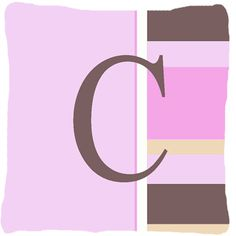 Letter C Initial Monogram - Pink Stripes Decorative Canvas Fabric Pillow