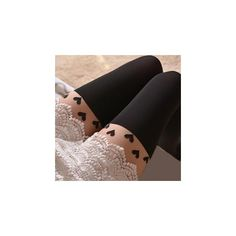 Heart Tattoo Tights Heart - Black featuring polyvore, fashion, clothing, intimates, hosiery, tights, accessories, socks, leggings, stockings, women, velvet stocking, velvet tights, tattoo stockings, black pantyhose and tattoo hosiery