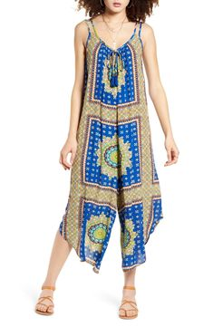 Band of Gypsies Athens Jumpsuit | Nordstrom Bold Colors, Athens, Wide Leg, Gypsy, Jumpsuit Style, Cover Up, Nordstrom, Beige, Geometric Patterns