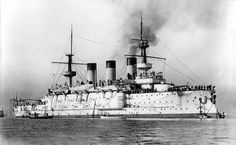 Imperial Russian battleship Peresvet in Toulon, 1901.  The Peresvet class was a class of three pre-dreadnought battleships built for the Imperial Russian Navy around the end of the 19th century. Peresvet and Pobeda were transferred to the Pacific Squadron upon completion and based at Port Arthur from 1901 and 1903. All three ships were lost by the Russians in the Russo-Japanese War of 1904–1905.