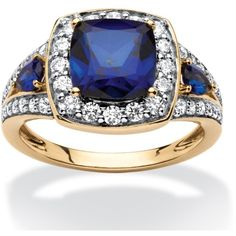 Palm Beach Jewelry PalmBeach 3.33 TCW Cushion-Cut Lab Created Sapphire... ($97) ❤ liked on Polyvore featuring jewelry, rings, yellow, cushion cut sapphire ring, yellow sapphire ring, 18k gold ring, anniversary band rings and anniversary rings