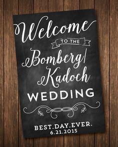 結婚式のウェルカム黒板に署名 - デジタルまたは印刷