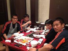 yakiniku party,Japan National Team:Hasebe,Kagawa,Nakamura,Nagatomo. 2012.06.04