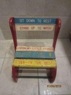 Vintage Kids Step Stool Childs Wood Bench Fold Up Chair   eBay