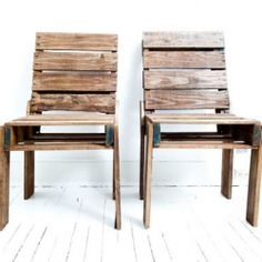 Clarke Titus of Atlanta, Georgia handcrafts chairs out of old shipping pallets.