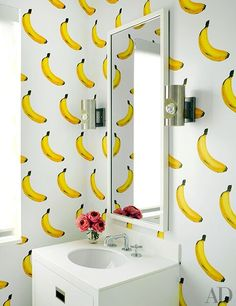 Bananas for this powder room!