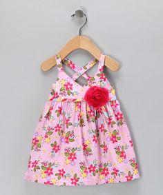 Take a look at this Pink Floral Rosette Dress - Infant & Toddler by Maggie Peggy on #zulily today!