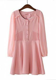 Fashoin Enchating Dizzying Pink Nylon round neck Long Sleeve Plain Fashion Dresses