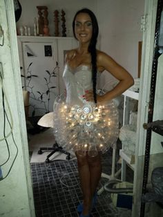 Jelly fish Dress in fabric with Vinyl Upcycled plastic cups Dress Christmas lights cds bubble wrap