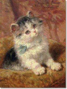 The Blue Bow Kitten - Henriette Ronner Knip