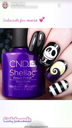 Nightmare Before Christmas Halloween Nail Art & Spooky Halloween Nail Designs For Creepy Fingers [& Disney Halloween Nails, Holloween Nails, Halloween Acrylic Nails, Disney Nails, Halloween Nail Designs, Christmas Nail Designs, Christmas Nail Art, Holiday Nails, Spooky Halloween
