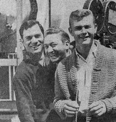 "Hamming it up between scenes of""Route 66"" were George Maharis (left) and Martin Milner (right), stars of the series, and the producer, Sam Manners, former Clevelander."
