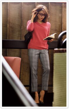 a standing women with glass reading book at somewhere Women With Glasses, Womens Glasses, Business Fashion, Office Fashion, Work Fashion, Fashion Outfits, Womens Fashion, Plaid Pants, Work Wardrobe