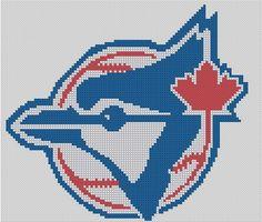 Counted Cross Stitch Pattern, Toronto Blue Jays Logo, Baseball Logo, Instant Download, PDF Pattern: