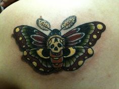 death's head moth tattoo done by Nigel Hirschi at High Noon Tattoo Phoenix, Arizona.