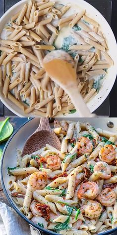 This Creamy Shrimp Pasta recipe is made with a light cream sauce, sun-dried tomatoes, spinach, and a light creamy sauce. Quick and easy lunch or dinner recipe that's delicious and appetizing. recipe videos for dinner pasta CREAMY SHRIMP PASTA Creamy Shrimp Pasta, Creamy Pasta Recipes, Shrimp Recipes, Thai Pasta, Spinach Shrimp Pasta, Healthy Shrimp Pasta, Appetizer Recipes, Pesto Tortellini, Spicy Shrimp