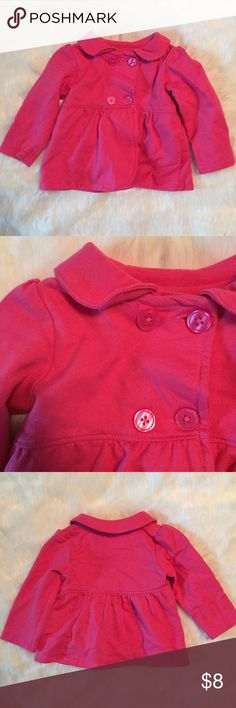 Pink Pea Coat for Baby Pink pea coat for baby. Used but good condition. Lightweight and 100% cotton. Perfect for layering. Machine wash and dry. Carter's Jackets & Coats Pea Coats