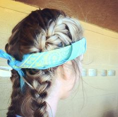 French Braid great for softball games with bandana to hold it tight.