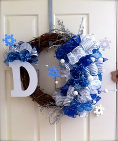 Snowflake Love Winter Wreath with Your Initial by NaturallyEstes, $60.00