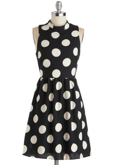 Spotted Downtown Dress, #ModCloth you can never go wrong with black and white polka dots.  This look will never go out of style. Timeless.