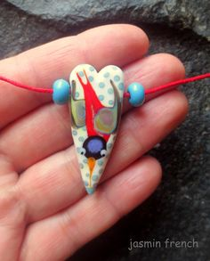 jasmin french ' swallow ' lampwork focal bead by jasminfrench