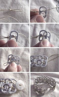 DIY DIY Pop Tab Bracelet:  This is the ultimate craft when it comes to recycling; It's actually pretty darn cute, too! My daughter would be all over this project. You can also use colorful ribbon or string in place of hemp. Now, just don't forget to save those soda can tabs!