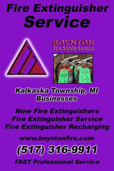 Fire Extinguisher Service Kalkaska Township, MI (517) 316-9911  We're Boynton Fire Safety Service.. The Main Source for Fire Protection for Michigan Businesses. Call Today!  We would love to hear from you.