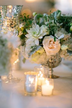 Candlelit Romantic & Vintage Silver - as pretty as pretty can be! See more on SMP: http://www.StyleMePretty.com/california-weddings/2013/08/19/santa-monica-wedding-from-heather-kincaid/ Photography: Heather Kincaid