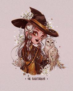 Cute Dragon Drawing, Witch Drawing, Cute Art Styles, Cartoon Art Styles, Witch Aesthetic, Aesthetic Art, Sagittarius Art, Cartoon Kunst, Zodiac Art