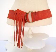 Orange suede fringe belt  / 60's hippie by Kim Craftsmen by dahlilafound, $24.00
