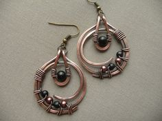 Wire Wrapped Jewelry Copper Metal Earrings by fancyyoudesigns