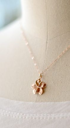 Rose gold plumeria necklace. By Kahili Creations of Hawaii...