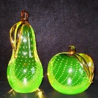 MURANO~VINTAGE CONTROLLED BUBBLE VASELINE GLASS FRUIT BOOKENDS/PAPERWEIGHTS