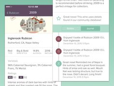 New Wine Detail view for the Cellar App redesign. Complete with photo of label, wine facts, ratings, and a journal / timeline of events and notes. Feedback always welcome!