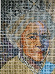 Diamond Jubilee created by Peter Mason ~ A portrait created from approximately 4000 used postage stamps of Queen Elizabeth II celebrating her Diamond Jubilee. She is wearing the King George IV State Diadem or which was made in Symbol Of England, King George Iv, Postage Stamp Art, Queen Of England, Mail Art, Queen Victoria, Queen Elizabeth Ii, Just Amazing, Portrait
