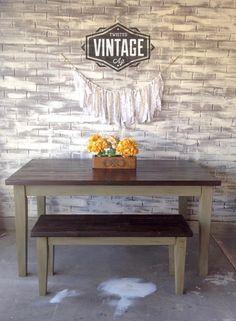 Custom Farm Table and bench built by Twisted Vintage Az