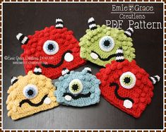 Crochet Monster Hat Pattern - Silly Beanie - 8 Size (Newborn to Adult) - BRONSTER  MISSY - pdf 104 crochet hat patterns, monster hat, craft, crochet hats, hat crochet, babi, crochet monster, monsters, crochet patterns