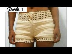 Short de Crochê Parte 1 - YouTube Crochet Pants, Crochet Romper, Crochet Skirts, Crochet Collar, Crochet Clothes, Swimsuit Pattern, Romper Pattern, Pants Pattern, Short Tejidos