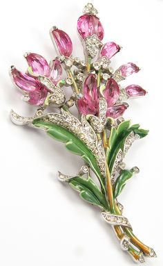 Trifari 'Alfred Philippe' Pink Topaz Demilune Floral Spray Pin Clip - Makes me smile!!!