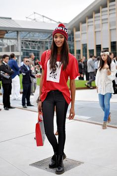 Fashion Week street style: Doc Martins and graphic tee