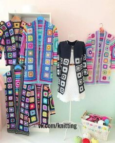 522 Origin Connection Time-Out - Diy Crafts Crochet Coat, Crochet Cardigan Pattern, Granny Square Crochet Pattern, Crochet Jacket, Crochet Squares, Crochet Granny, Cute Crochet, Beautiful Crochet, Crochet Clothes