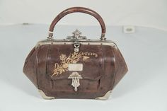 VINTAGE Early 1900 Antique English Brown Leather MINI DOCTOR BAG Handbag PURSE