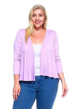 Plus Size Open Front Quarter Sleeves Rayon Cardigan Plus Size Women's Tops, Open Front Cardigan, Quarter Sleeve, Collection, Sleeves, Sweaters, Fashion, Moda, Fashion Styles